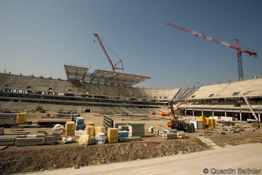 Chantier stade, tribune Ouest vue depuis la tribune Est