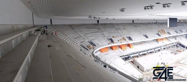 vue tribune sud-ouest depuis volée haute tribune ouest nouveau stade