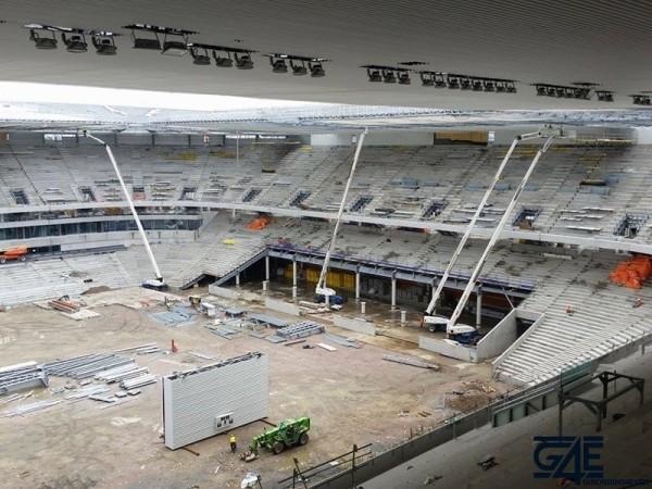 tribune sud depuis volée haute tribune ouest nouveau stade