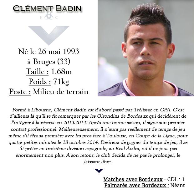 Fiche Ancien joueur Clement Badin