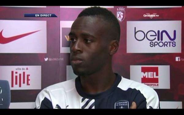 Maxime Poundjé au micro de Girondins TV.