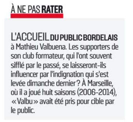 Valbuena l'équipe accueil Bordeaux
