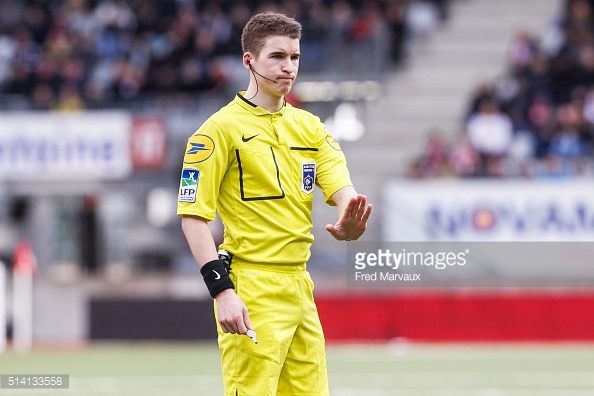 Francois Letexier referee during the French Ligue 2 match between Nancy and Red Star at Stade Marcel Picot on March 5, 2016 in Nancy, France.